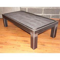 Table basse métal brut et béton ciré 120 x 60 x H 40