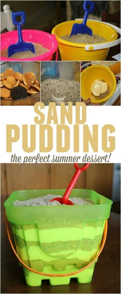 Sand Pudding Summer sand pudding - super easy delicious dessert that's fun & everyone will love!Summer sand pudding - super easy delicious dessert that's fun & everyone will love! Köstliche Desserts, Dessert Recipes, Picnic Recipes, Easy Fun Desserts, Camping Recipes, Yummy Treats, Sweet Treats, Tiki Party, Beach Party Desserts