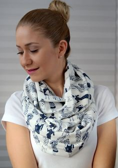 Accessories, infinity scarf, loop scarf, spring scarf, for her, gift idea, white, woman printed, women patterned