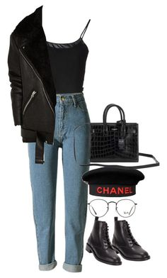 """""""Sem título #1443"""" by oh-its-anna ❤ liked on Polyvore featuring Jean-Paul Gaultier, WithChic, Chanel, Ray-Ban, Acne Studios and Yves Saint Laurent"""