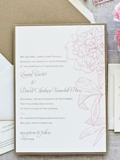 Sweet peony wedding invite from Paperwhites. I love this simple, classy invitation style.