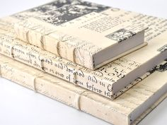 Canto Antique Journal - White. Crafted using salvaged discard books.