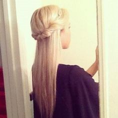 Just twist around a headband. | Hair Style | Hair Trends | Half up Hair |... Sounds so simple....