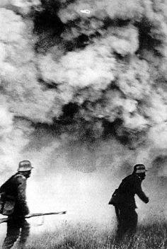 German soldiers walking through poison gas.  WWI.