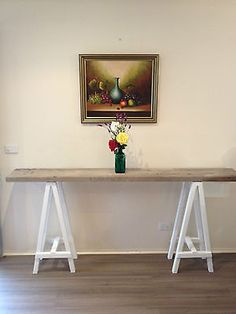 Great Vintage Industrial Trestle Table Hall Table Console Display Table