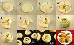 Delicious Pizza Roses: Your next dinner party go-to Pizza Roses, Bread And Roses, Comida Diy, Bread Shaping, Snacks Für Party, Creative Food, Creative Pizza, Diy Food, Food Ideas