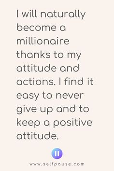 Enjoy this list of the top millionaire mindset affirmations to help you focus on your money goals and achieve them. Visit Selfpause for more affirmations. Daily Positive Affirmations, Wealth Affirmations, Positive Outlook, Positive Attitude, Positive Thoughts, Positive Vibes, Positive Quotes, Mind Tricks, Mindset Quotes