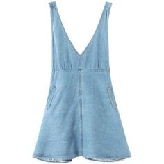 LUCLUC Light Blue V-Neck Denim Dress (400.515 IDR) ❤ liked on Polyvore featuring dresses, bottoms, lucluc, overalls, v neckline dress, blue dress, denim dress, light blue dress and v-neck dresses