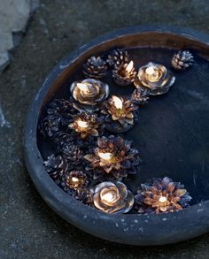 Beautiful.  Floating candles and pinecones.  Really pretty for Imbolc.