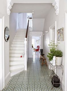 Hallway with Moroccan tiles (Coach House Home). I've always loved Moroccan tiles! Flooring, House Design, Interior Design, House Interior, House, Home, Interior, Home Deco, Patterned Floor Tiles