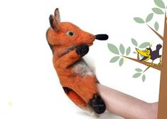 Red fox felt toy glove puppet on the hand of natural wool, handmade, Bibabo, puppet for the puppet theater Meaning Of Education, Glove Puppets, Red Fox, Felt Toys, Kids Toys, Gloves, Miniatures, Hands, Wool