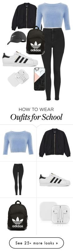 """School Outfit"" by halldoraeinarsdottir on Polyvore featuring Monki, Topshop, adidas, adidas Originals, NIKE, BaubleBar, women's clothing, women, female and woman"