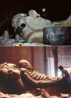 Sculpting the Space Jockey on the set of Ridley Scott's Alien.