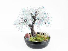 22cm Fluorite Lilac Bonsai with Pond, Patio Chairs & Fence in Ceramic Pot. Handmade Feng Shui Gemstone Tree. Purple Wedding Centerpiece Tree by BeadedGardenCanada on Etsy