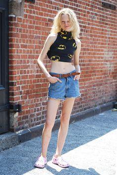Street Style: Model Hanne Gaby Odiele Listens to Songs in Her Head, Wears Crocs