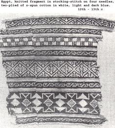 Sock fragment Egypt, c. Cotton, 2 plies of z-spun, white plus light & dark indigo blue. Vintage Patterns, Cross Stitch Patterns, Knitting Patterns, Knitting Projects, Light In The Dark, White Light, African Textiles, Knitting Socks, Crochet Yarn