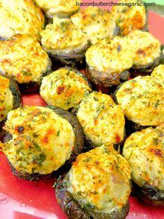 Bacon, Butter, Cheese & Garlic: Crab & Cream Cheese Stuffed Mushrooms