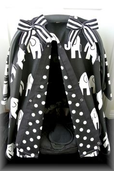 carseat canopy, car seat cover, black, white, chevron, polka dots,elephant, bows, baby, infant girl, baby girl, baby boy, infant boy via Etsy