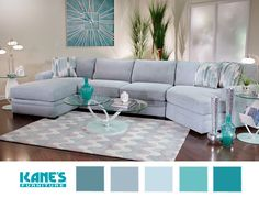 Want a living room set that exudes peaceful relaxation? Choose furniture and décor with calming blue hues, like the contemporary Poseidon II Chaise Sectional.