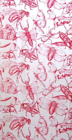 Bugs by Becky Webberley Textile Prints, Textile Patterns, Color Patterns, Print Patterns, Surface Pattern Design, Pattern Art, Red Pattern, Of Wallpaper, Pattern Wallpaper