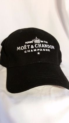 Moet Chandon Champagne 100% Cotton Hat Black and White Adjustable Strap 3338553c2dc6