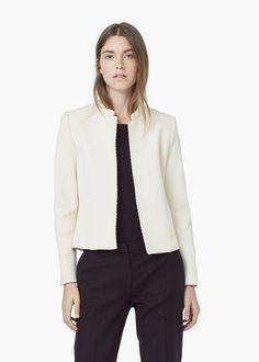 Textured cotton-blend jacket - Jackets for Women | MANGO