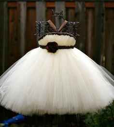 Elegant Ivory Tutu Dress with Brown Accents  by littledreamersinc, $60.00