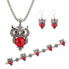 New Brand Design Jewelry Sets Silver Plated Retro Turquoise Pendant Necklace Owl drop earrings Charm bracelet Gift women