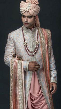 Wedding Ideas is the go-to guide helping the bride, groom, and bridal party with every aspect of the wedding from the hen and stag through to the honeymoon. Sherwani For Men Wedding, Wedding Dresses Men Indian, Wedding Outfits For Groom, Groom Wedding Dress, Sherwani Groom, Wedding Men, Trendy Wedding, Indian Groom Dress, Indian Bride And Groom