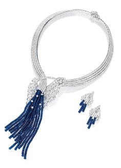 Sapphire and Diamond Necklace and Pair of Matching Earclips, Van Cleef & Arpels:  The necklace set throughout with brilliant-cut diamonds, gathered at the center by cluster of rose-cut diamonds, suspending cascading fringes set with sapphire beads; and pair of earclips en suite; the sapphires and diamonds altogether weighing approximately 214.65 and 60.30 carats respectively, mounted in 18 karat white gold.