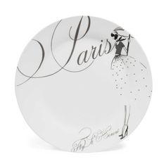 Assiette à dessert en porcelaine blanche D 20 cm PARIS MODEUSE
