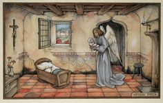 Birth Announcement Baby Illustration, Fantasy Illustration, Dutch Artists, Great Artists, Clarence Gagnon, Anton Pieck, Dutch Painters, Famous Art, Catholic Art