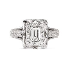 Vera Wang Love Tiara - diamond engagement ring ($7,330) ❤ liked on Polyvore featuring jewelry, rings, accessories, anel, white, emerald cut ring, diamond rings, bridal engagement rings, emerald cut wedding rings and vera wang rings