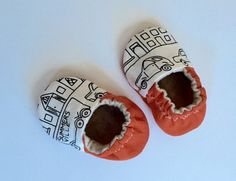 MITCHELL...Baby Boy Shoes in Orange, Black and Cream