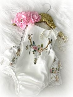 Kryssi Kouture Exclusive Baby Girls Boho Babe Floral Antler Ruffled Romper Bodysuit. Boho Baby Outfit Boho Romper Baby. Boho baby. #babygirloutfits