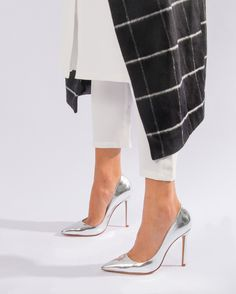 5 Perfect NYFW Outfits Styled by the Spicy Stiletto - silver metallic  stilettos take your outfit up a notch | StyleCaster