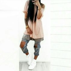 La fashionista uploaded by Tomboy Outfits, Tomboy Fashion, Suit Fashion, Casual Outfits, Fashion Outfits, Womens Fashion, Tomboy Style, Ripped Jeans Men, Street Outfit