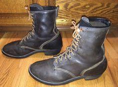 VINTAGE 60's 70's RANGER BLACK LEATHER QUADRUPLE STITCHED STEAMPUNK BOOTS 10.5 #Ranger #Military