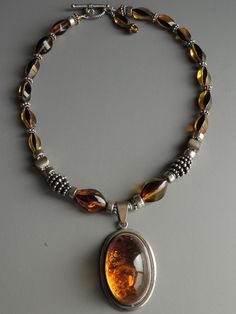 Baltic amber and sterling necklace