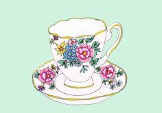 Vintage Teacup - archival Art print.