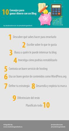 10 consejos para ganar dinero con un blog. Infografía en español. #CommunityManager