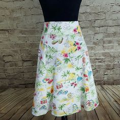 """Christopher &Banks Skirt Sunny summer scene print in a breezy A line cut. Great used condition. Fully lined, but still lightweight. Hook and eye and zipper closure in back. 23.5"""" length. Love this! I ship fast. Christopher & Banks Skirts"""