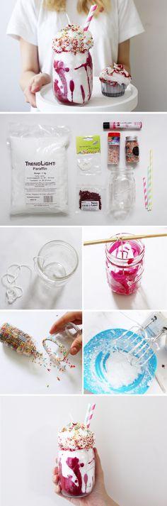 DIY Anleitung: Kerze in Milchshake-Form selber gießen