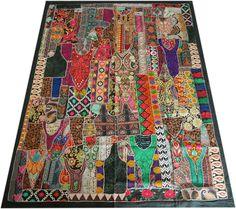Set Indien Patchwork Tagesdecke Bettüberwurf vintage Sari Set