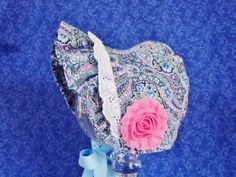 Winter Paisley Infant Baby Bonnet Blue and Pink with Fleece by AdorableandCute on Etsy