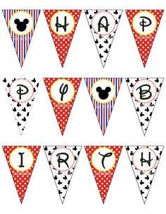 Mickey Mouse Birthday Banner Printable DIY by ZDesignsbyRosina
