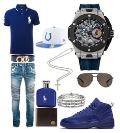 """Casual"" by pitbull8382 on Polyvore featuring Polo Ralph Lauren, Balmain, Salvatore Ferragamo, Gucci, Ralph Lauren, Hublot, Chimento, New Era and Marco Ta Moko"