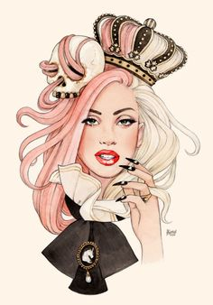 """gorgeous Lady Gaga fanart by Helen Green """"She's a Killer Queen"""" Images Lady Gaga, Lady Gaga Pictures, Helen Green, Audrey Kawasaki, Killer Queen, Fan Art, Little Monsters, Fashion Illustrations, Creepy"""