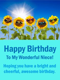 Sunflowers Funny Birthday Card for Niece: This is certainly a cheerful and cute happy birthday card your niece will love. It features a funny image of sunflowers wearing colorful sunglasses, and will surely make your niece laugh when she sees it. Birthday Surprise For Mom, Birthday Cards For Niece, Birthday Reminder, Happy Birthday Wishes Cards, Birthday Card Sayings, Happy Birthday Sister, Happy Birthday Funny, Happy Birthday Images, Funny Birthday Cards