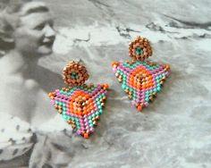 Beaded Stud Earrings with Geometric Pattern in Pink Aqua Orange and Bronze